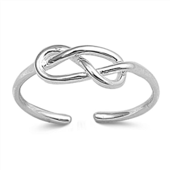 Sterling Silver Infinity Knot Toe Ring/ Knuckle/ Mid-Finger 5MM