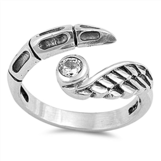 Sterling Silver Wings and Claws Toe Ring/ Knuckle/ Mid-Finger 10MM
