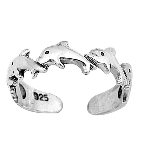 Sterling Silver Dolphin Toe Ring/ Knuckle/ Mid-Finger 4MM