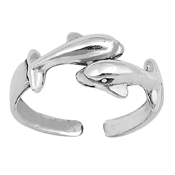 Sterling Silver Two Dolphin Toe Ring/ Knuckle/ Mid-Finger 6MM