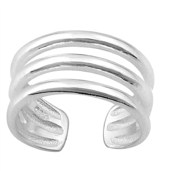 Sterling Silver Tri-Wired Toe Ring/ Knuckle/ Mid-Finger 8MM