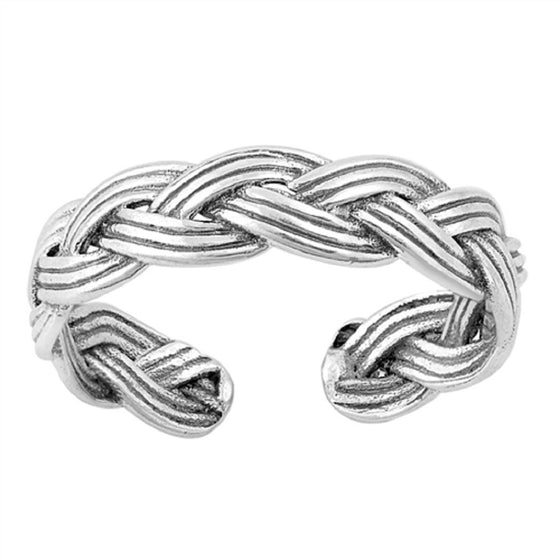 Sterling Silver Woven Braided Toe Ring/ Knuckle/ Mid-Finger 5MM