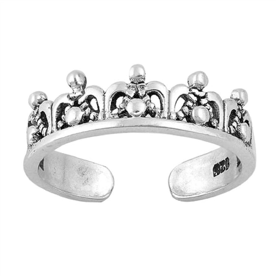 Sterling Silver Crown Tiara Toe Ring/ Knuckle/ Mid-Finger 5MM
