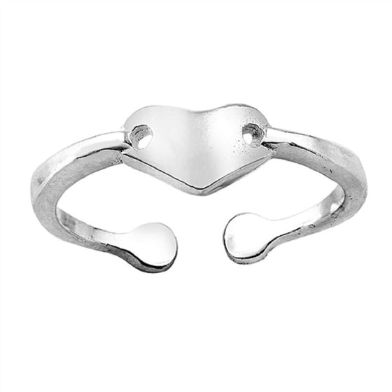 Sterling Silver Heart Toe Ring/ Knuckle/ Mid-Finger 5MM