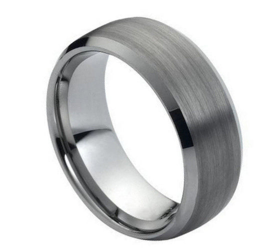 Tungsten Carbide  Wide Classic Domed Brush Polished Ring 8MM