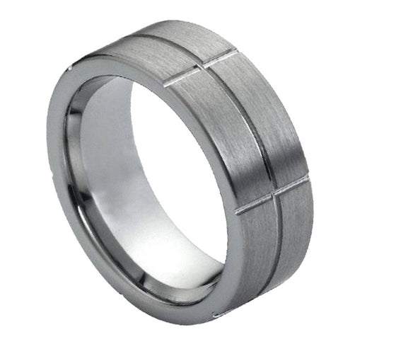 Tungsten Carbide Brush Finished Grooved Ring 8MM
