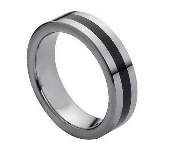 Tungsten Carbide Black Rubber Inlaid Center Ring 6MM