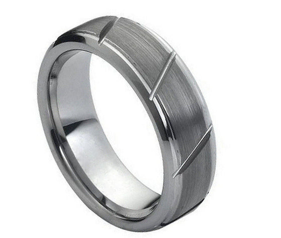 Tungsten Carbide Brush Finished Diagonal Grooved Ring 7MM