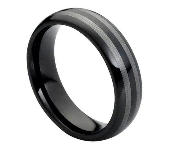Tungsten Carbide Black Silver Striped Ring 6MM