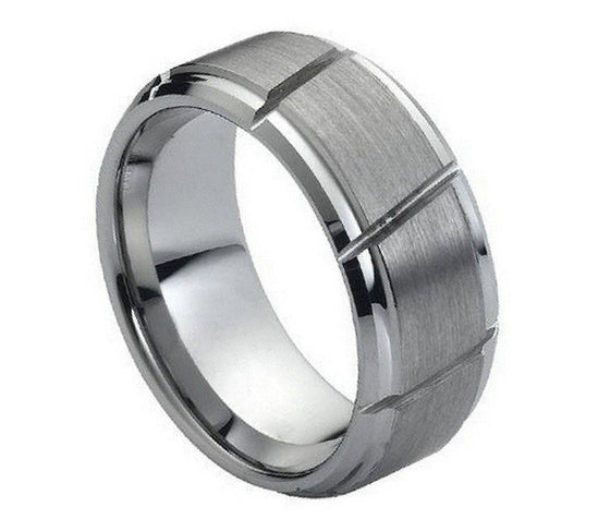 Tungsten Carbide Brush Finished Diagonal Grooved Ring 9MM