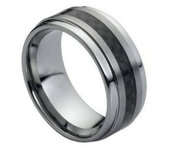 Tungsten Carbide Black Carbon Fiber Inlay Brushed Center Ring 9MM