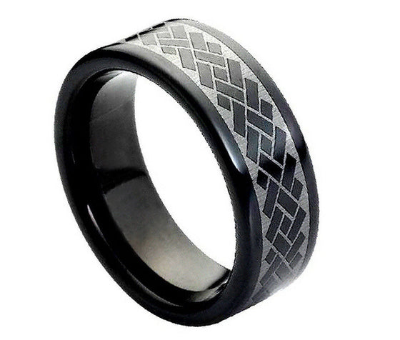 Tungsten Carbide Black Enamel Plated Laser Engraved Argyle Pattern Ring 8MM