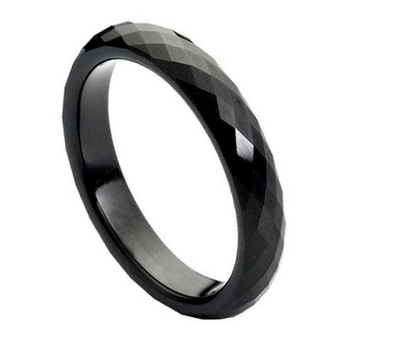 Tungsten Carbide Black Enamel Plated Faceted Ring 4MM