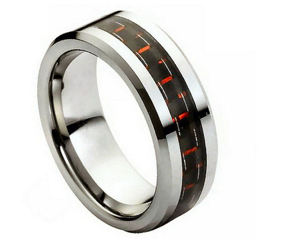 Tungsten Carbide Black & Red Carbon Fiber Inlay Ring 8MM