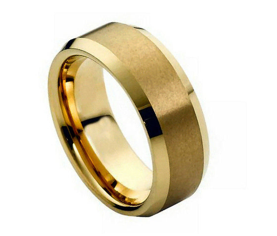 Tungsten Carbide Brush Polished Gold Plated Center Beveled Edge Ring 8MM