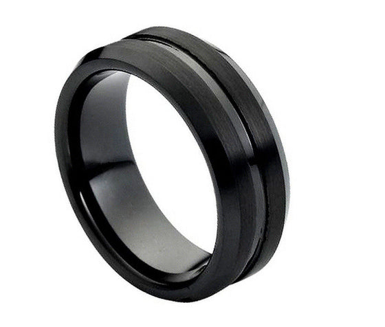 Tungsten Carbide Black Enamel Grooved Brushed Beveled Edge Ring 8MM