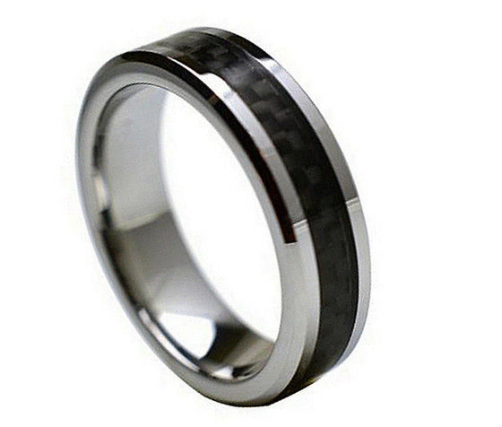 Tungsten Carbide Black Carbon Fiber Inlay Ring 6MM