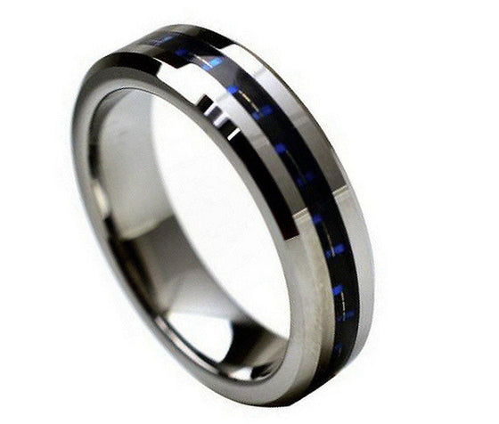 Tungsten Carbide Black & Blue Carbon Fiber Inlay Ring 6MM