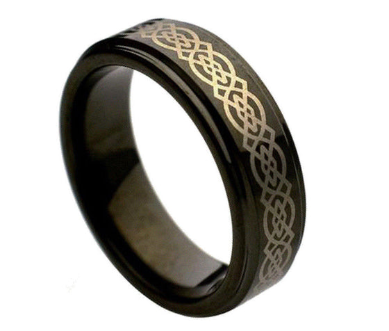 Tungsten Carbide Black Enamel High Polish Laser Engraved Wicca Celtic Ring 7MM