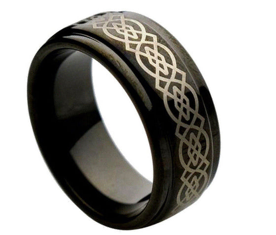 Tungsten Carbide Black Enamel Laser Engraved Wicca Celtic Pattern Ring 9MM