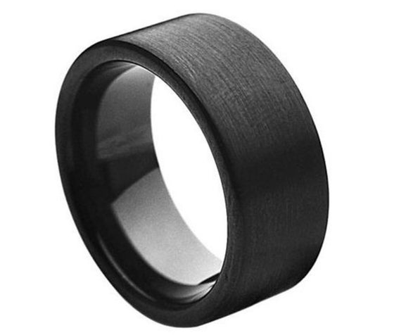 Tungsten Carbide Black Enamel Plated Brushed Pipe Cut Band Ring 9MM