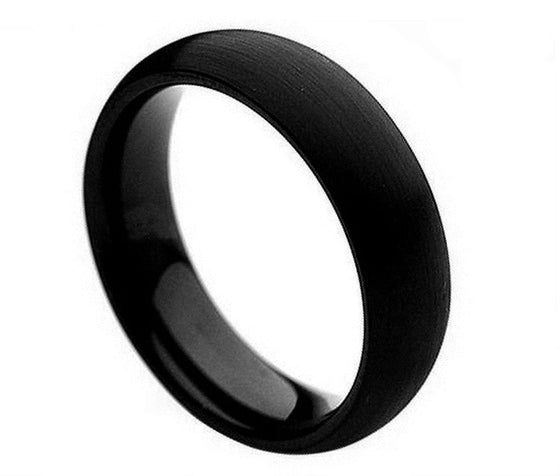 Tungsten Carbide Brushed Black Enamel Plated Classic Domed Band Ring 6MM