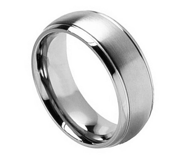 Brushed Center Grooved Titanium Ring 8MM