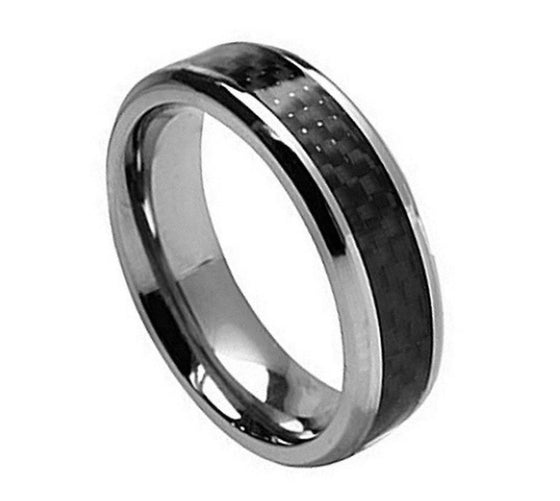Black Carbon Inlay Titanium Ring 7MM