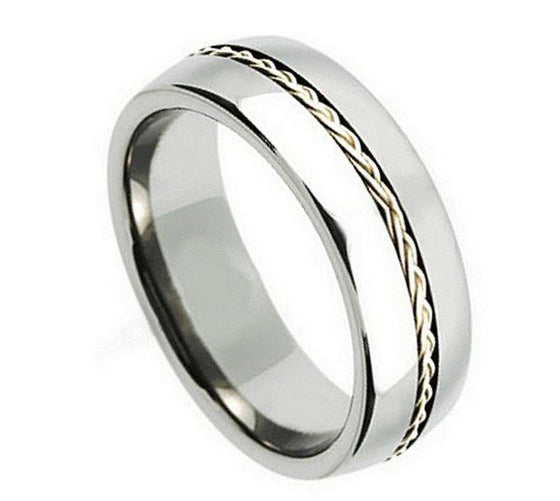 Grooved Braided Sterling Silver Inlay Titanium Ring 8MM