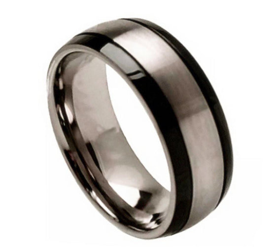 Brushed Center Black Grooved Sides Titanium Ring 8MM
