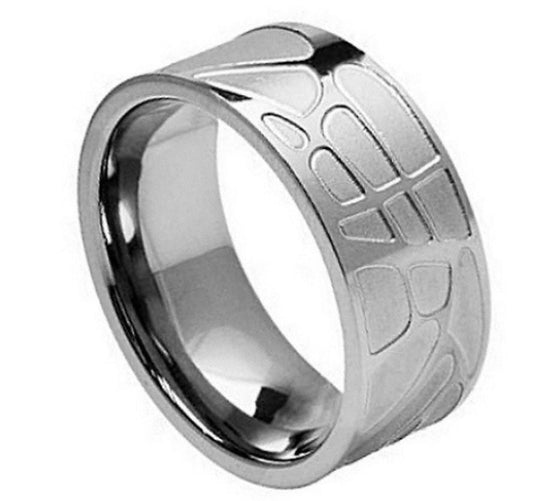 Flat Brushed Carved Design Titanium Ring 8MM