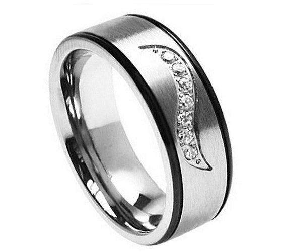 Gun Metal Edges Wave Grooved CZ Titanium Ring 7MM
