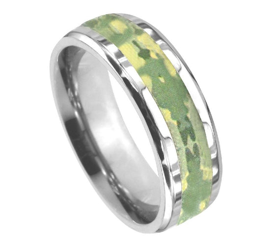 Hunter Green Camo Titanium Ring 8MM