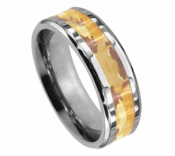 Titanium Polished Beveled Edge Desert Fox Camo Inlay Ring 8MM
