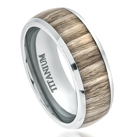 Titanium High Polished Domed with Ashen Zebra Rosewood Inlay Ring 8MM