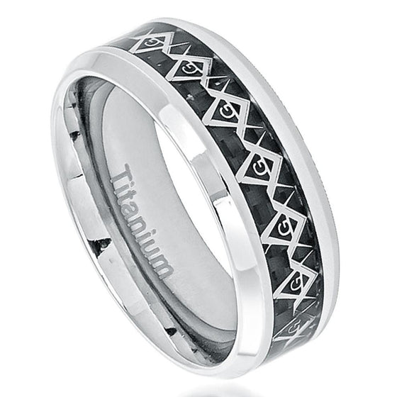Titanium Polished Cut Out Masonic Symbol Inlay Black Carbon Fiber Inlay Ring 8MM