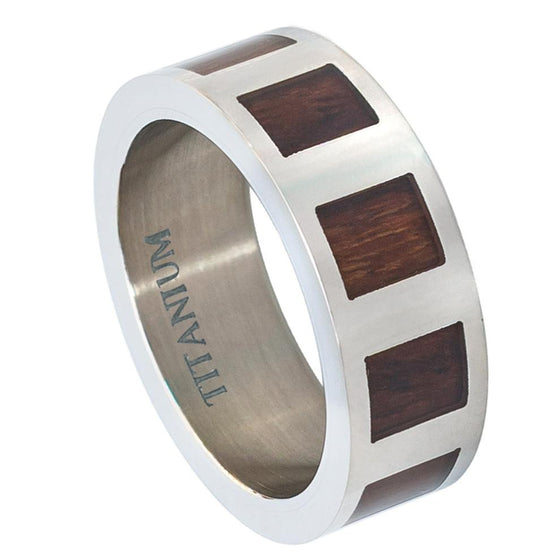 Titanium Flat  with Square Hawaiian Koa Rosewood Inlay Ring 8MM