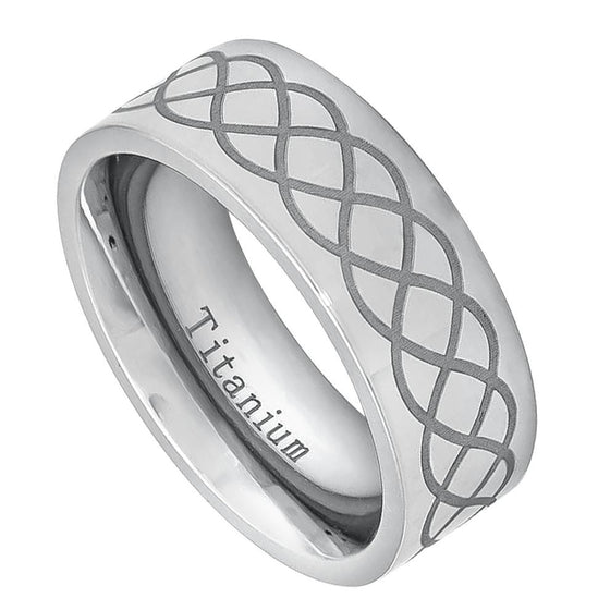 Titanium High Polished Pipe-cut  with Laser Engraved Infinity Design Ring 8MM