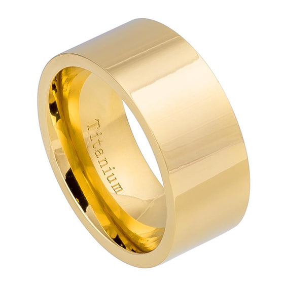 Titanium High Polished Pipe-cut Yellow Tone Ring 10MM