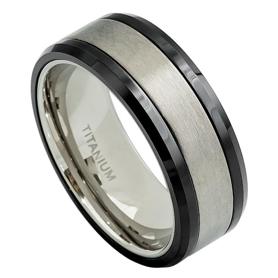 Ceramic & Titanium Fusion High Polished Black Beveled Edge Ring  8MM