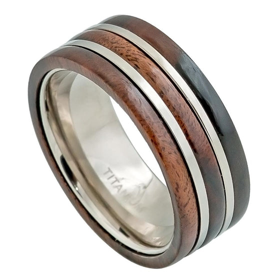 Titanium Pipe Cut Hawaiian Koa Wood Inlay Ring 9MM