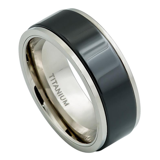 Ceramic & Titanium Fusion Stepped Edge High Polished Black Center Ring  - 8MM