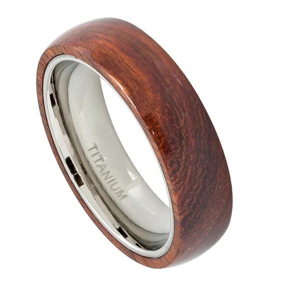Titanium Domed Hawaiian Koa Wood Inlay Ring 8MM