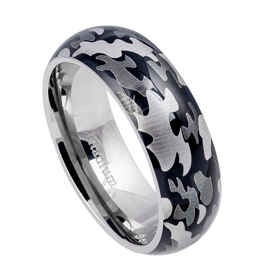 Titanium High Polished Domed Military Army Gray Camouflage Design Ring  8MM