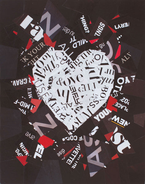 "Cassandra Tondro, ""There Are No Words,"" heart collage"