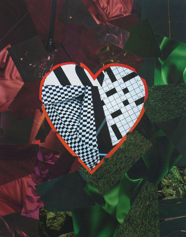 "Cassandra Tondro, ""Checkered Past,"" heart collage"