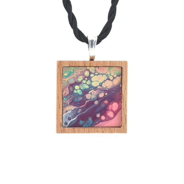 Art Necklace, burgundy, pink, teal painting in hardwood frame