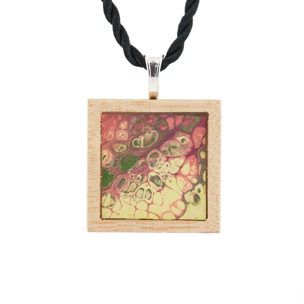 Art Necklace, yellow, pink, green painting in hardwood frame