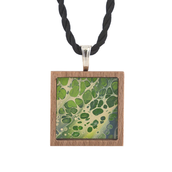 Art Necklace, green and yellow painting in hardwood frame