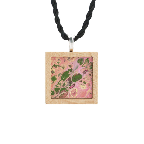 Art Necklace, olive, pink, yellow painting in hardwood frame